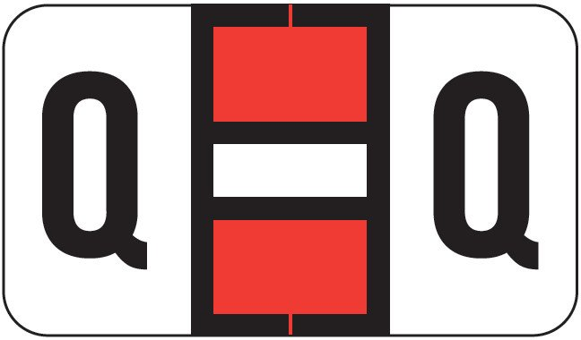 POS 2000 Match PP3R Series Alpha Sheet Labels - Letter Q - Red and White