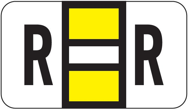 POS 2000 Match PP3R Series Alpha Sheet Labels - Letter R - Yellow and White