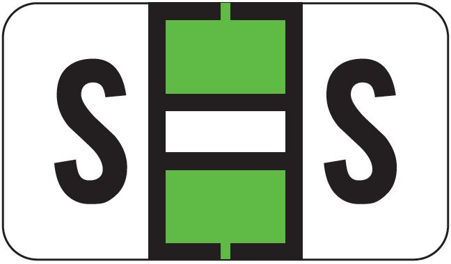 POS 2000 Match PP3R Series Alpha Sheet Labels - Letter S - Light Green and White