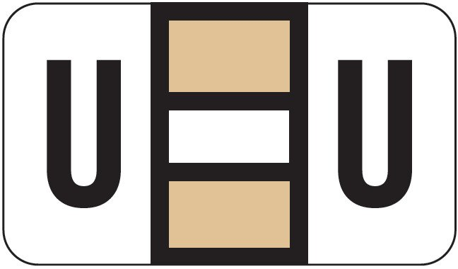 POS 2000 Match PP3R Series Alpha Sheet Labels - Letter U - Tan and White