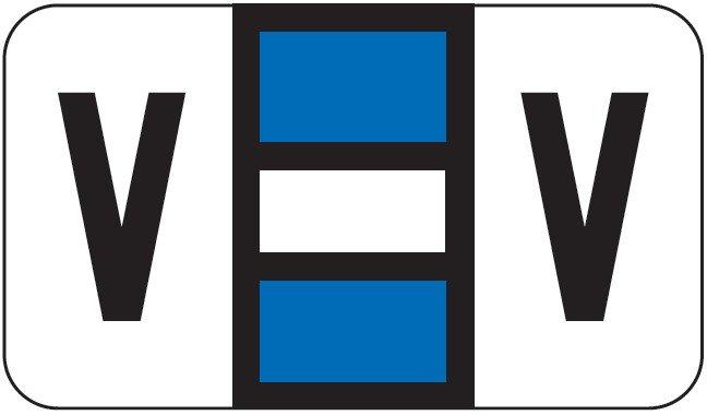 POS 2000 Match PP3R Series Alpha Sheet Labels - Letter V - Dark Blue and White