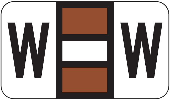POS 2000 Match PP3R Series Alpha Sheet Labels - Letter W - Brown and White