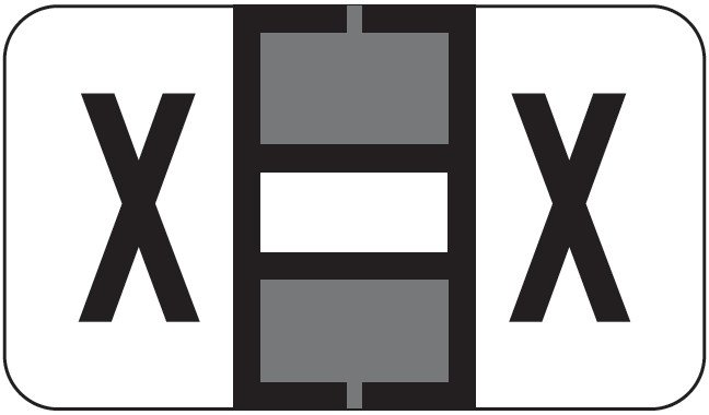 POS 2000 Match PP3R Series Alpha Sheet Labels - Letter X - Gray and White