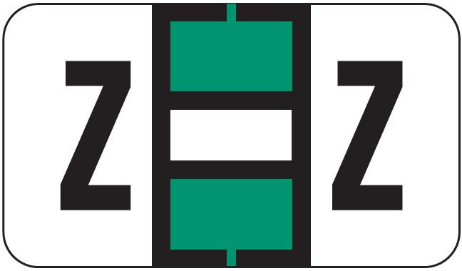 POS 2000 Match PP3R Series Alpha Sheet Labels - Letter Z - Dark Green and White