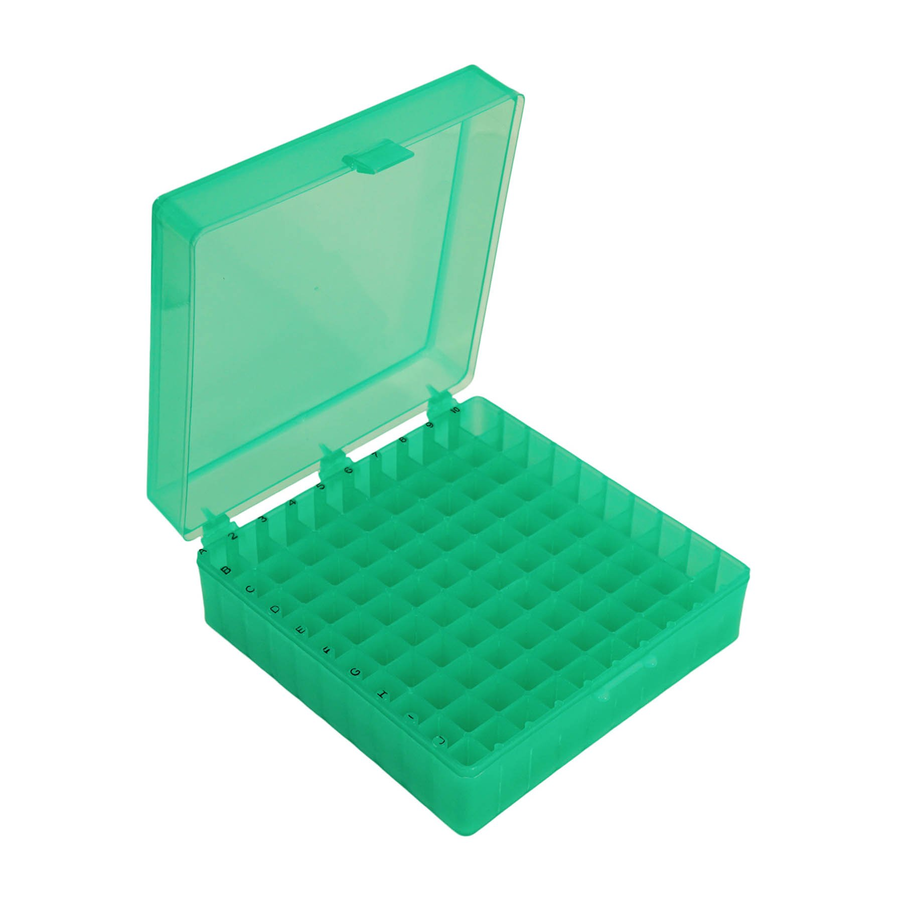 Storage Box with Hinged Lid for 100 x 1.5mL Tubes - Green (Case of 30)