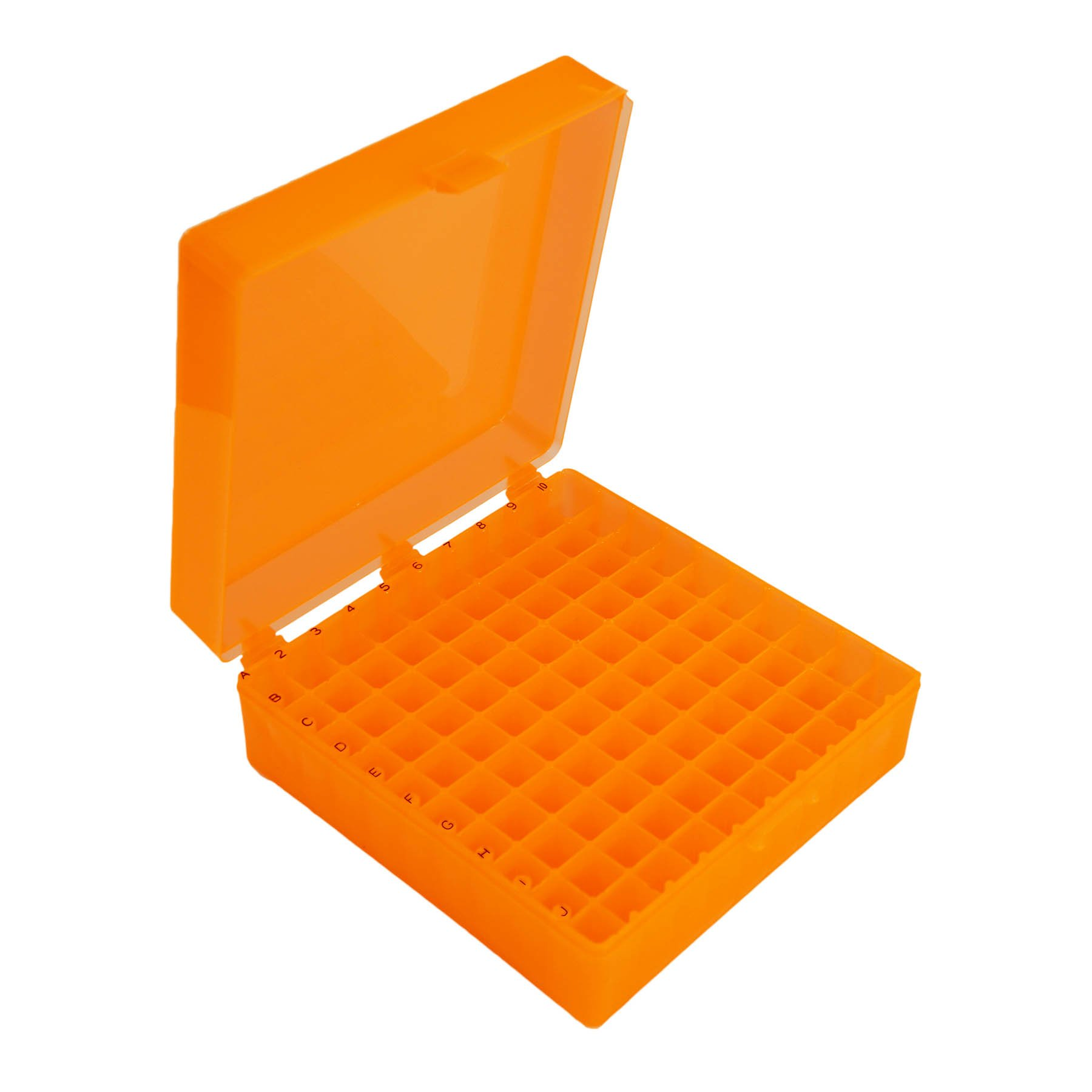 Storage Box with Hinged Lid for 100 x 1.5mL Tubes - Orange (Pack of 5)
