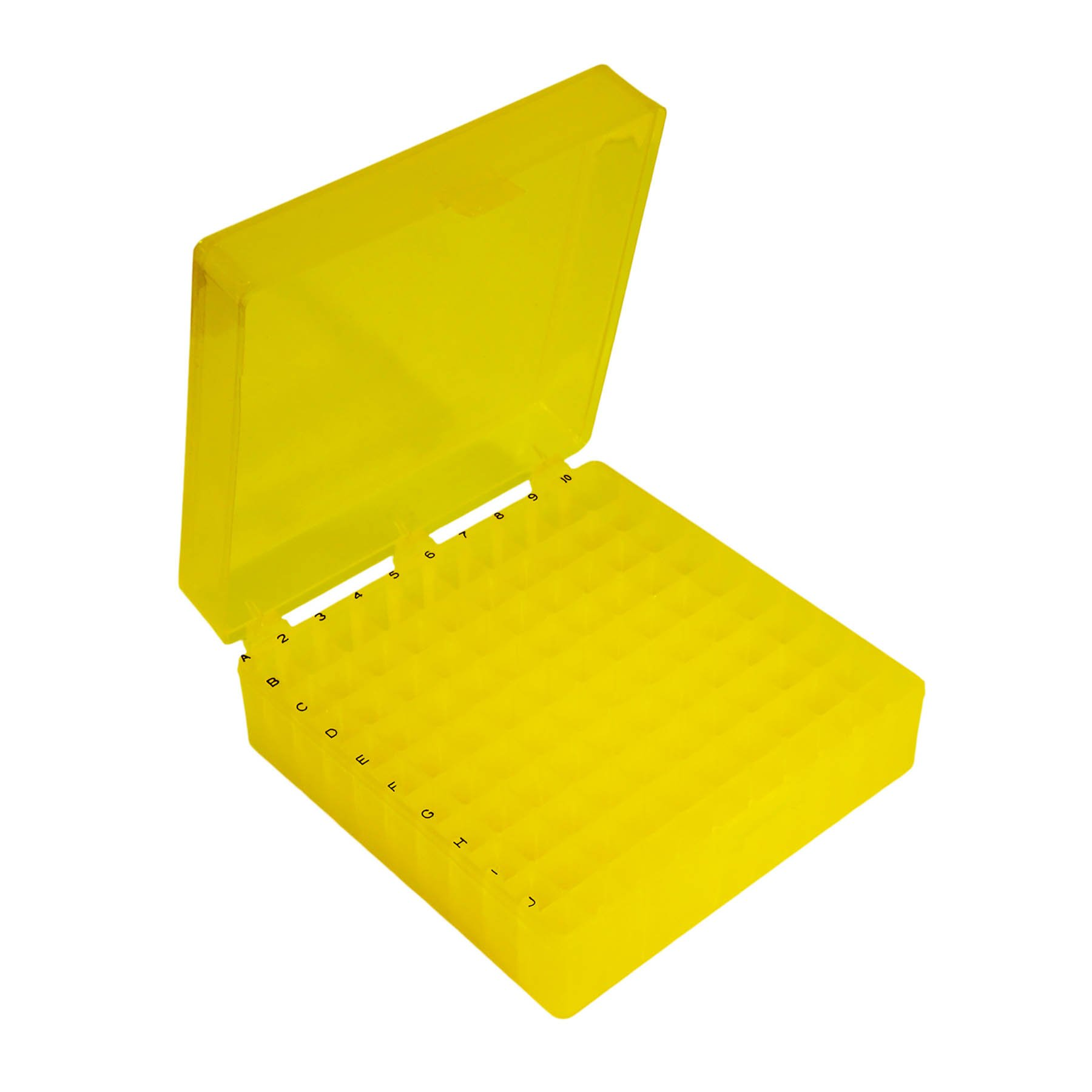 Storage Box with Hinged Lid for 100 x 1.5mL Tubes - Yellow (Case of 30)