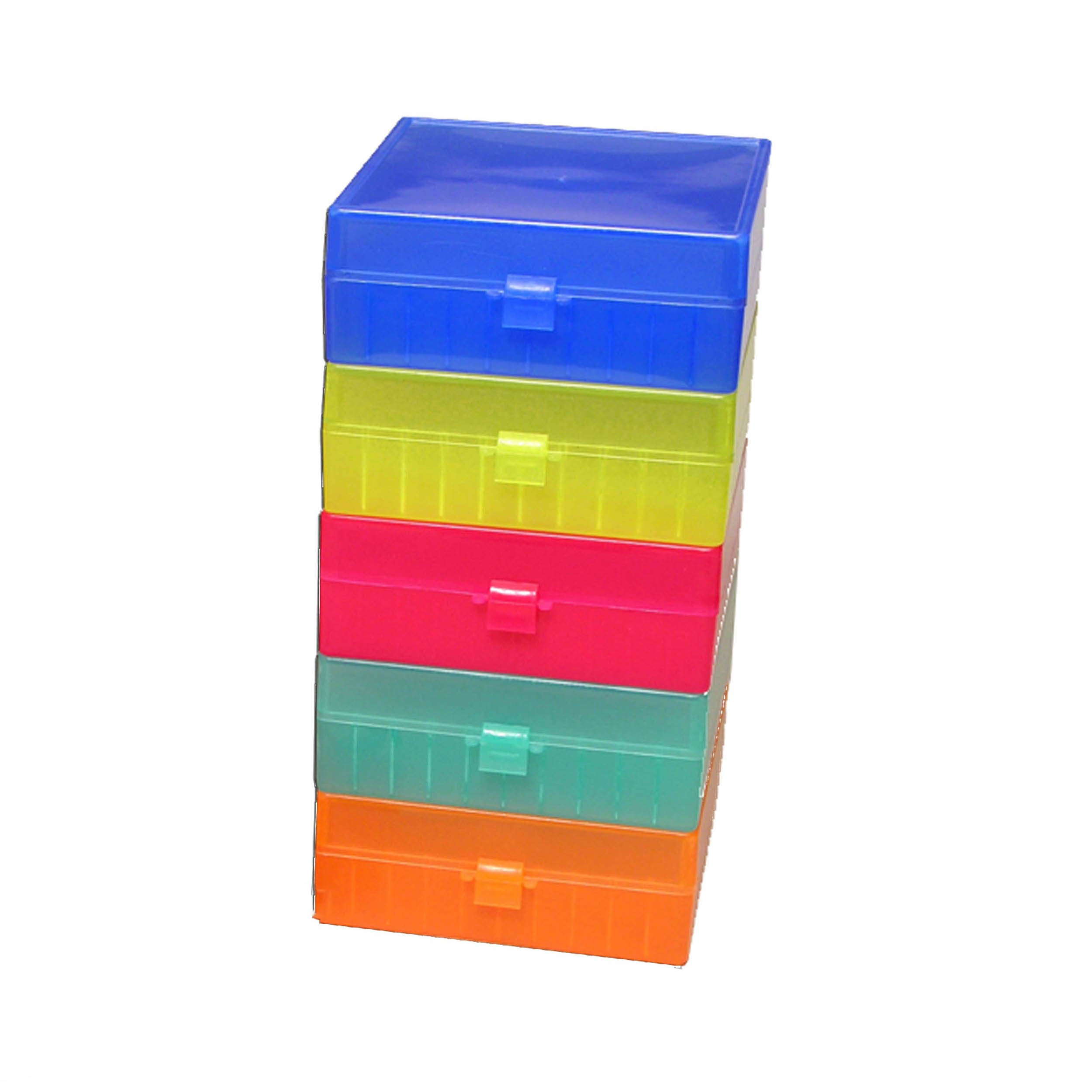 Storage Box with Hinged Lid for 100 x 1.5mL Tubes - Rainbow Pack (Pack of 5)