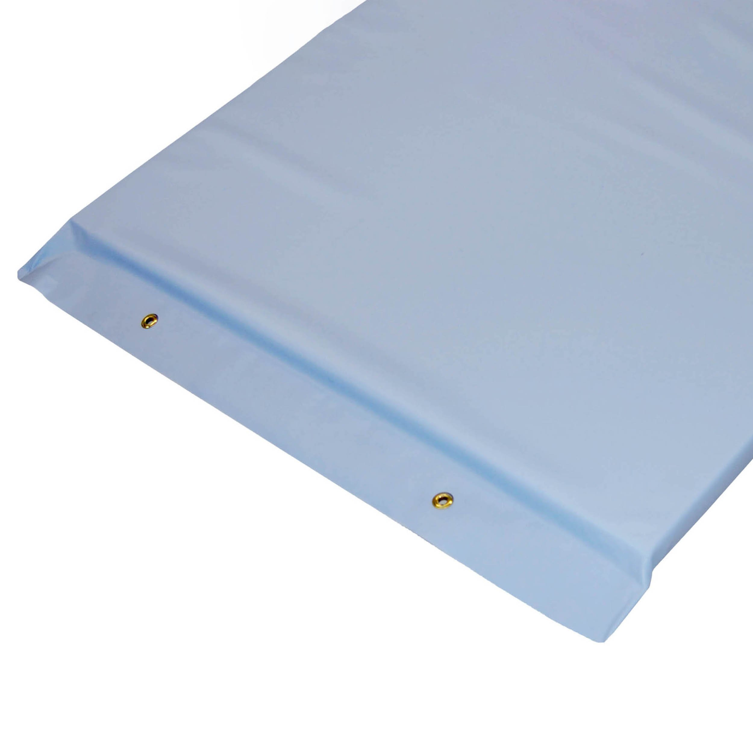 Economy Standard Plus Radiolucent X-Ray Firm Foam Table Pad - Light Blue Vinyl, With Grommets 80