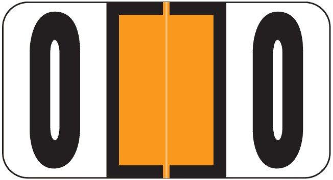 Reynolds & Reynolds Match RRNM Series Numeric Roll Labels - Number 0 - Orange