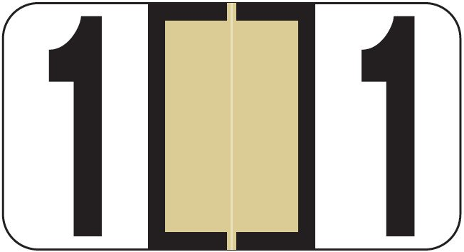 Reynolds & Reynolds Match RRNM Series Numeric Roll Labels - Number 1 - Tan