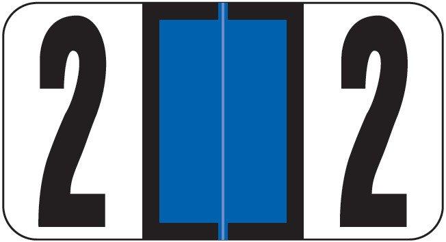 Reynolds & Reynolds Match RRNM Series Numeric Roll Labels - Number 2 - Dark Blue