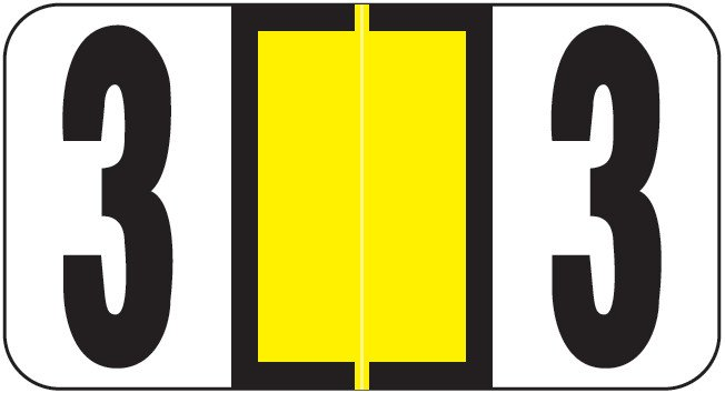 Reynolds & Reynolds Match RRNM Series Numeric Roll Labels - Number 3 - Yellow
