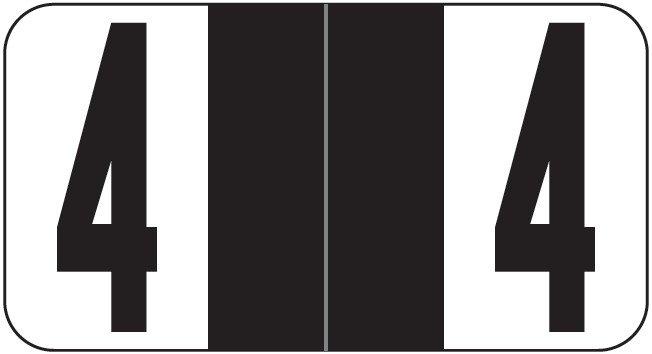 Reynolds & Reynolds Match RRNM Series Numeric Roll Labels - Number 4 - Black