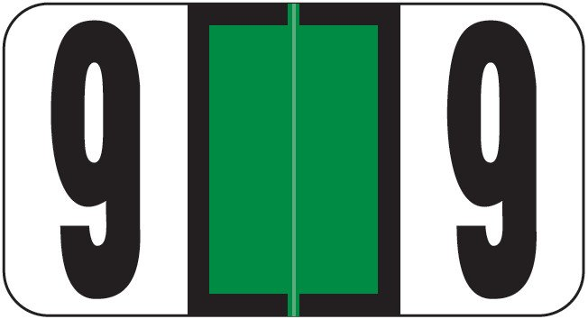 Reynolds & Reynolds Match RRNM Series Numeric Roll Labels - Number 9 - Dark Green