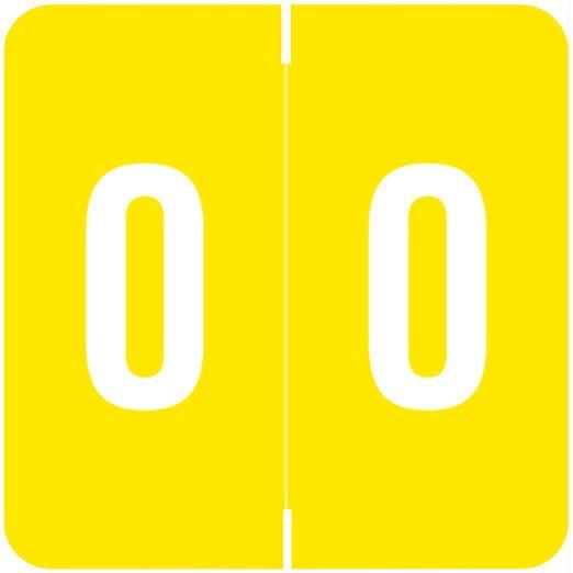 Smead/Barkley FNSDM Match SBNM Series Numeric Roll Labels - Number 0 - Yellow