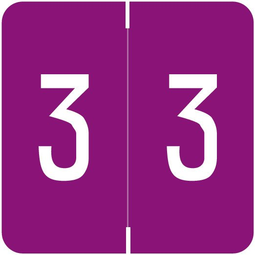 Smead/Barkley FNSDM Match SBNM Series Numeric Roll Labels - Number 3 - Purple