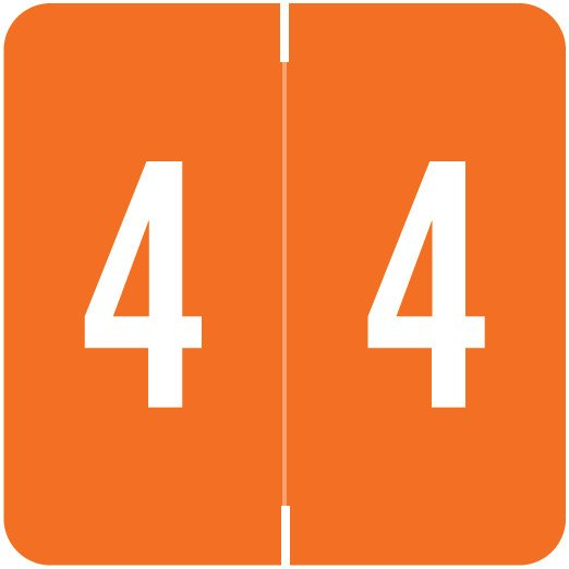 Smead/Barkley FNSDM Match SBNM Series Numeric Roll Labels - Number 4 - Orange