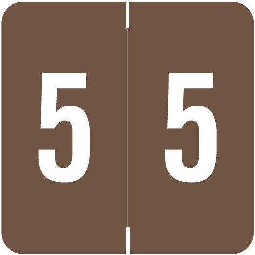 Smead/Barkley FNSDM Match SBNM Series Numeric Roll Labels - Number 5 - Brown