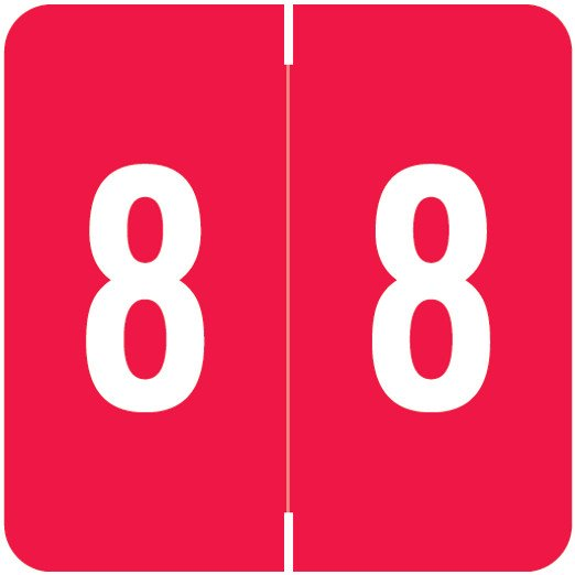Smead/Barkley FNSDM Match SBNM Series Numeric Roll Labels - Number 8 - Red