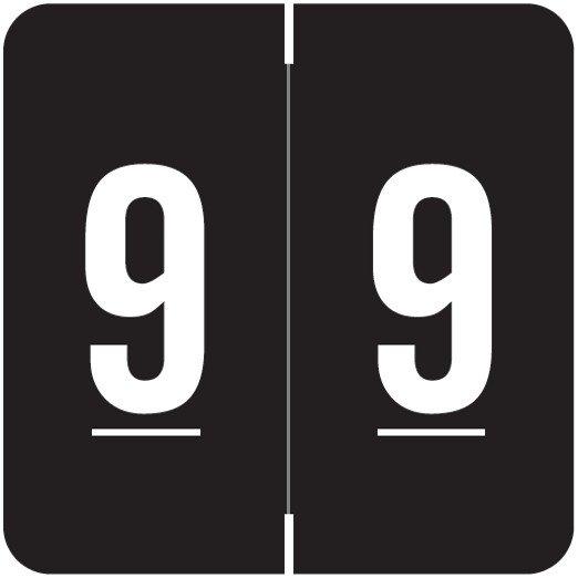 Smead/Barkley FNSDM Match SBNM Series Numeric Roll Labels - Number 9 - Black