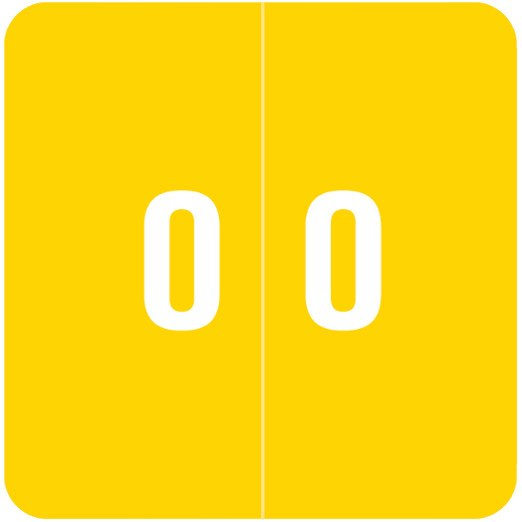Smead DCC Match SDNM Series Numeric Roll Labels - Number 0 - Yellow