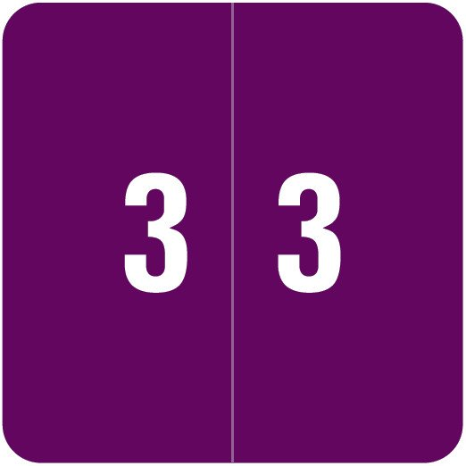 Smead DCC Match SDNM Series Numeric Roll Labels - Number 3 - Purple
