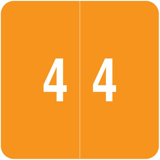 Smead DCC Match SDNM Series Numeric Roll Labels - Number 4 - Orange