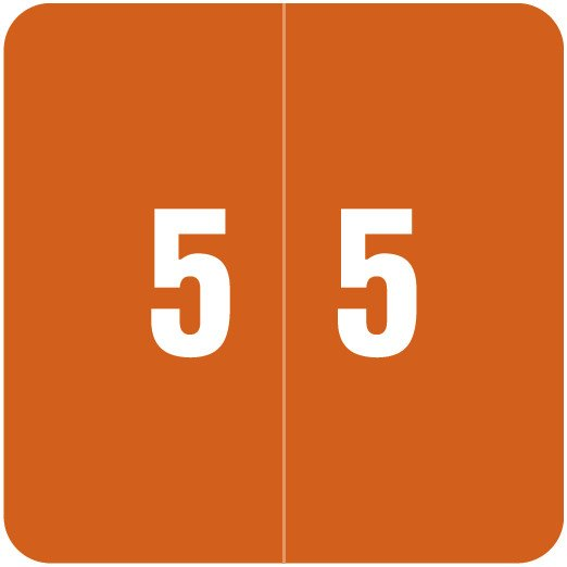 Smead DCC Match SDNM Series Numeric Roll Labels - Number 5 - Brown