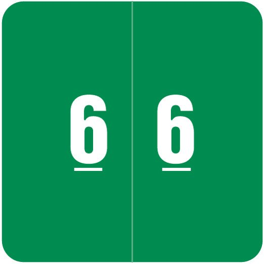 Smead DCC Match SDNM Series Numeric Roll Labels - Number 6 - Green