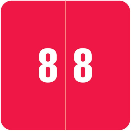 Smead DCC Match SDNM Series Numeric Roll Labels - Number 8 - Red