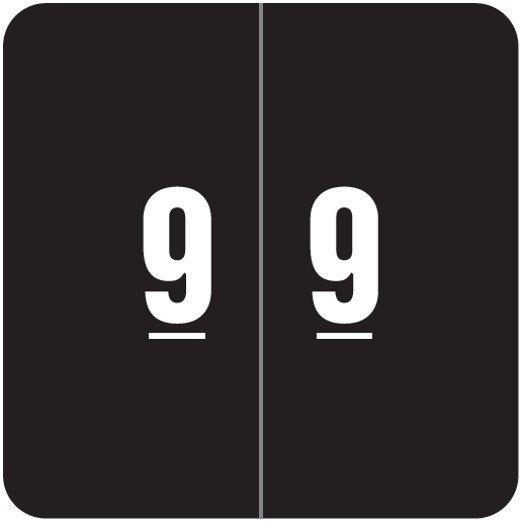Smead DCC Match SDNM Series Numeric Roll Labels - Number 9 - Black