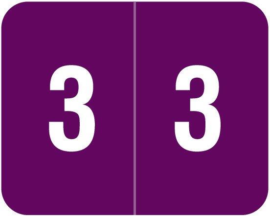 Smead DCCRN Match SENM Series Numeric Roll Labels - Number 3 - Purple