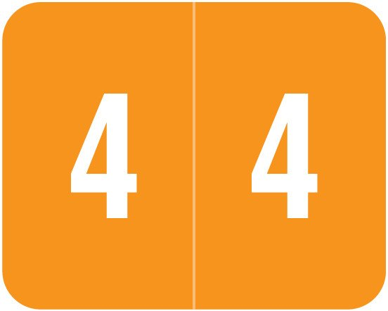 Smead DCCRN Match SENM Series Numeric Roll Labels - Number 4 - Orange