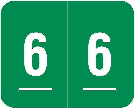 Smead DCCRN Match SENM Series Numeric Roll Labels - Number 6 - Green