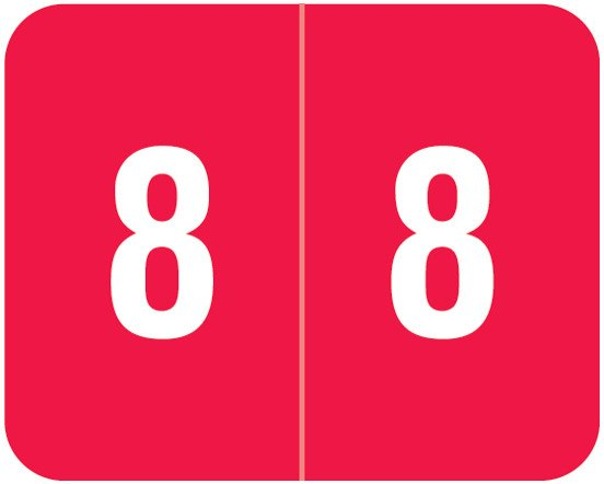Smead DCCRN Match SENM Series Numeric Roll Labels - Number 8 - Red