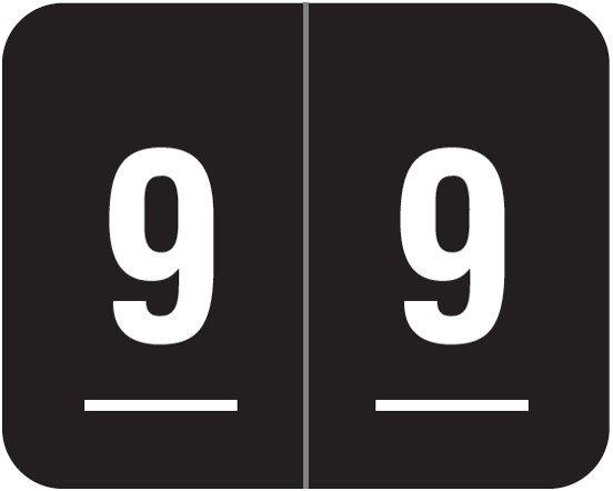 Smead DCCRN Match SENM Series Numeric Roll Labels - Number 9 - Black