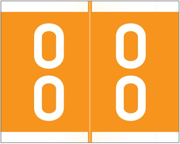 Barkley FDSFM Match SFDM Series Numeric Roll Labels - Number 00 To 09 - Orange