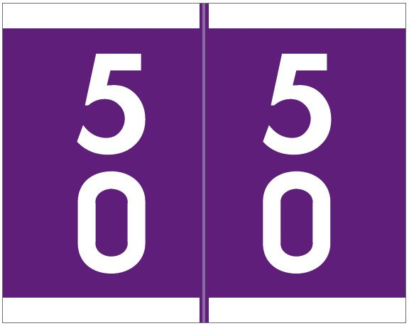Barkley FDSFM Match SFDM Series Numeric Roll Labels - Number 50 To 59 - Purple
