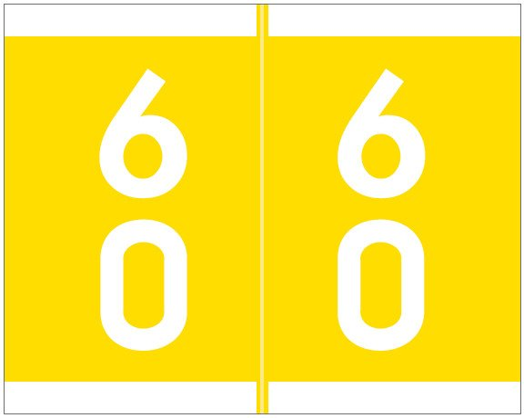 Barkley FDSFM Match SFDM Series Numeric Roll Labels - Number 60 To 69 - Yellow