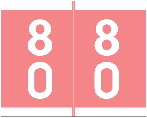 Barkley FDSFM Match SFDM Series Numeric Roll Labels - Number 80 To 89 - Pink