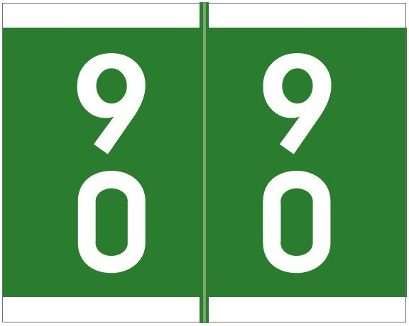 Barkley FDSFM Match SFDM Series Numeric Roll Labels - Number 90 To 99 - Green