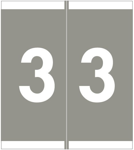 Barkley FNSFM Match SFNM Series Numeric Roll Labels - Number 3 - Gray