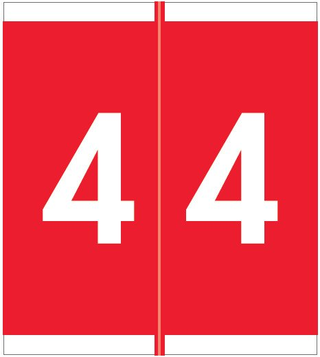 Barkley FNSFM Match SFNM Series Numeric Roll Labels - Number 4 - Red