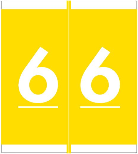 Barkley FNSFM Match SFNM Series Numeric Roll Labels - Number 6 - Yellow