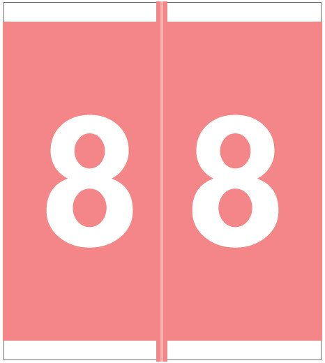 Barkley FNSFM Match SFNM Series Numeric Roll Labels - Number 8 - Pink