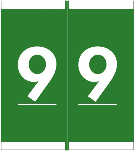 Barkley FNSFM Match SFNM Series Numeric Roll Labels - Number 9 - Green