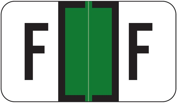 Safeguard 511 Match SG3R Series Alpha Sheet Labels - Letter F - Dark Green