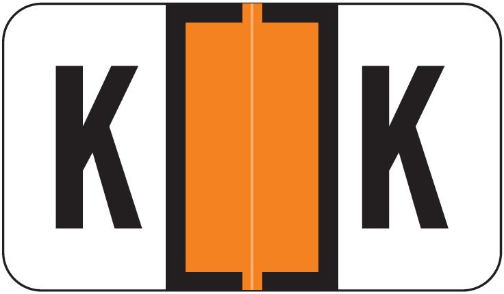 Safeguard 511 Match SG3R Series Alpha Sheet Labels - Letter K - Dark Orange