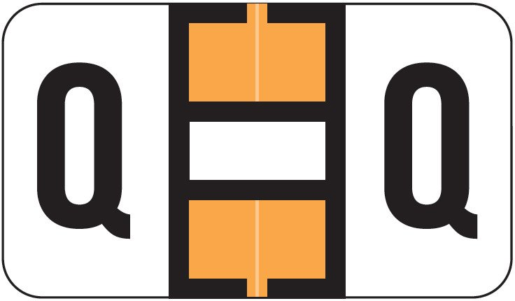 Safeguard 511 Match SG3R Series Alpha Sheet Labels - Letter Q - Fluorescent Orange and White